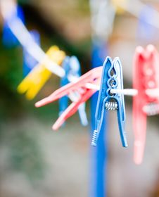 Free Clothespins On Rope Royalty Free Stock Photography - 6725187