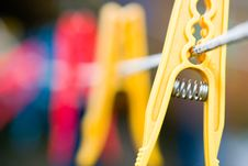 Free Clothespins On Rope Stock Image - 6725201