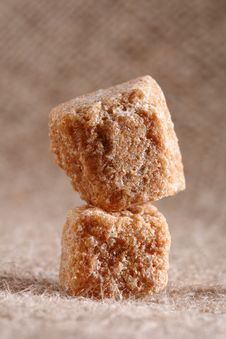Free Two Brown Sugar Cubes On Hessian Background Royalty Free Stock Photos - 6725368