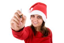 Free Santa Woman Writing Her Present Wishlist Royalty Free Stock Photos - 6725388