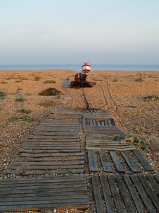Wooden Walkway On Pebble Beach, Dungeness Royalty Free Stock Photo
