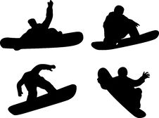 Free Snow Boarder Silhouette Royalty Free Stock Images - 6726619