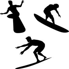 Surf Boarder Silhouette Stock Photos