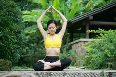 Free Young Chinese Woman Practicing Yoga Outdoor Royalty Free Stock Image - 6727036