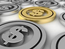 Free Dollar Coins Royalty Free Stock Image - 6729306