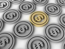 Free Display Of Dollar Coins Royalty Free Stock Photos - 6729308