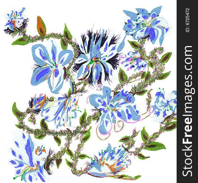 Azure Flower Vine Design