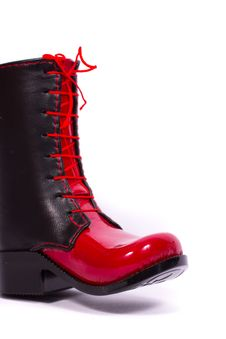 Black And Red Glossy Women S Boots Stock Photography