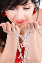 Free Pretty Woman Refreshing The Face Stock Images - 6735234