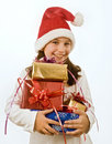 Free Girl With Christmas Present Royalty Free Stock Image - 6736176