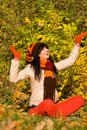 Free Young Woman On The Autumn Leaf Royalty Free Stock Images - 6736859