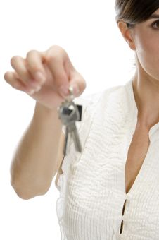 Free Lady With Keys In Her Hand Royalty Free Stock Image - 6730466