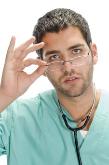 Free Doctor Holding Spectacles Stock Images - 6730524