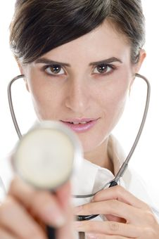 Free Lady Doctor Posing With Stethoscope Royalty Free Stock Images - 6730529