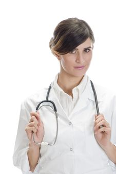 Free Lady Doctor Holding Stethoscope Stock Images - 6730534