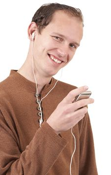Free Young Caucasian Man Listening To Music Stock Image - 6731921