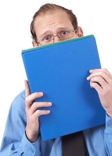 Businessman Hiding Behind The Folder