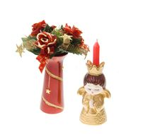 Free Christmas Scene With Christmas Angel And Candle Stock Photography - 6732132