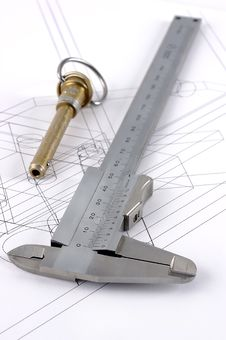 Free Calipers And Pip-pin On A Technical Drawing Stock Photography - 6732502