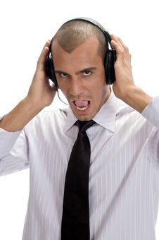 Free Businessman Holding Headphone Royalty Free Stock Photography - 6732747