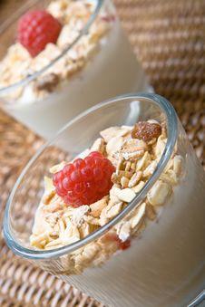 Two Glasses Of Deliciously Fresh Yogurt And Muesli Royalty Free Stock Photo