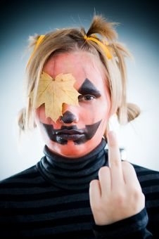 Free Upset Jack-o-lantern Girl Stock Photo - 6733640