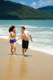 Running On A Paradise Beach Stock Photos