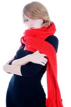 Free Beautiful Girl In Red Scarf Royalty Free Stock Photos - 6734168