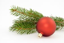 One Matte Red Christmas Ball Stock Photos