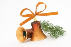 Free Two Golden Christmas Bells Stock Images - 6735394