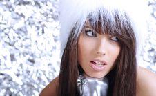 Free Winter Girl Wearing White Fur Hat Royalty Free Stock Photography - 6735427