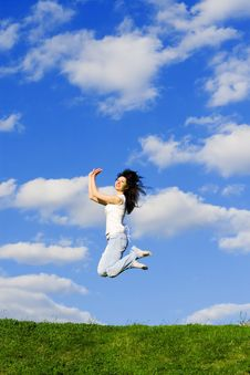 Free Young Woman Is Jumping Stock Image - 6735691
