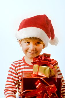 Boy And Presents Royalty Free Stock Images