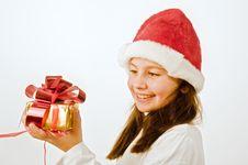 Free Girl With Christmas Present Stock Photography - 6736152