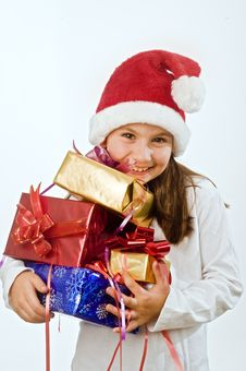 Free Girl With Christmas Present Royalty Free Stock Images - 6736189