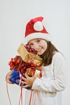 Free Girl With Christmas Present Royalty Free Stock Images - 6736209