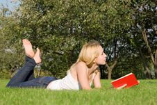 Blonde Reads Book In The Park Stock Images