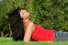 Woman Rest On The Green Summer Grass Royalty Free Stock Images