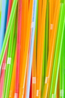 Bunch Of Multicolored Straws Stock Photo
