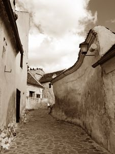 Medieval Street In Transylvania (Romania) Stock Photos