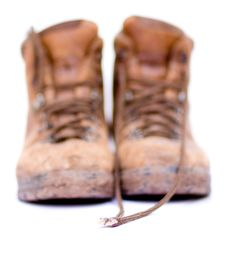 Free Pair Of Old Worn Walking Boots Royalty Free Stock Image - 6737486