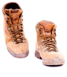 Free Pair Of Old Worn Walking Boots Royalty Free Stock Image - 6737506