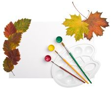 Free Paints, Brushes And Autumn Leaves Stock Photography - 6737532