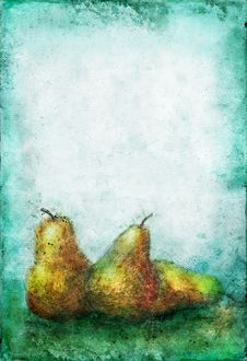 Free Etches Pears On A Grunge Background Royalty Free Stock Images - 6738179