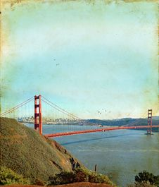 Free Golden Gate Bridge On A Grunge Background Stock Images - 6738344