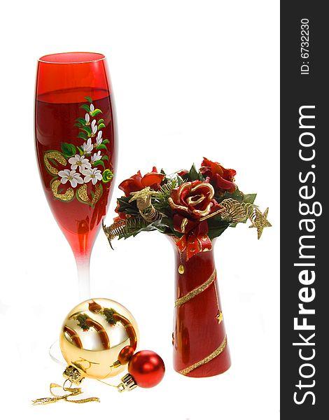 Wine glass with glass balls