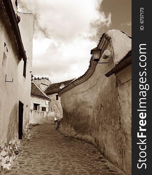 Medieval street in Transylvania (Romania)