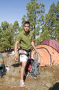 Free Man Standing Near His Tent With Clim Stock Image - 6745301