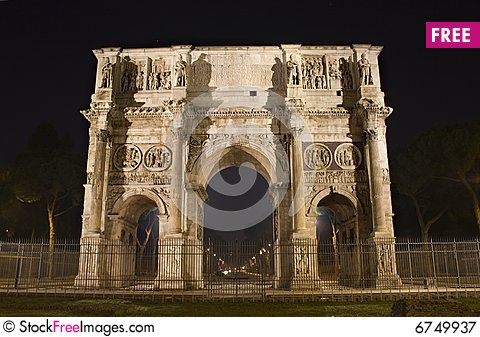 Free Rome - Arch Of Constantine  - Night Royalty Free Stock Photography - 6749937