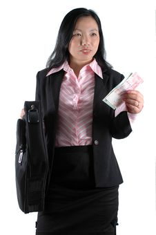 Free Businesswoman With Money And Suitcase Royalty Free Stock Image - 6740096
